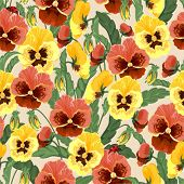 Seamless background with pansies and ladybirds