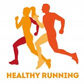 Healthy Running. Silhouette Healthy Runners. Abstract Running Man And Woman. Running Man And Woman.  poster