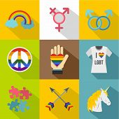 Sexual Minorities Icons Set. Flat Illustration Of 9 Sexual Minorities Icons For Web poster