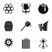 Honey Production Icons Set. Simple Illustration Of 9 Honey Production Icons For Web poster
