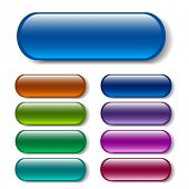 stock photo of oblong  - Oblong buttons in various colors - JPG