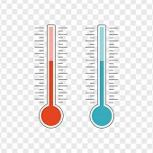 Meteorology Thermometers Heat And Cold Vector. Thermometer Icon Hot And Cold. Weather Thermometer Ve poster