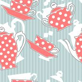 stock photo of dot pattern  - Retro polka dot tea set - JPG