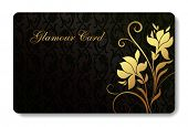credit card / business card background design of standard size with a hand drawn flower and a place