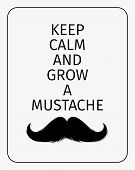 Moustaches Challenge Poster. Keep Calm And Grow A Mustache Aged Retro Vertical Brochure. Vector Illu poster