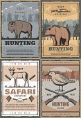 Hunting Club Retro Posters For Hunt Open Season Or African Safari Adventure. Vector Vintage Design O poster
