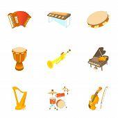 Musical Instruments Icons Set. Cartoon Illustration Of 9 Musical Instruments Icons For Web poster