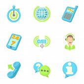 Online Consultation Icons Set. Cartoon Illustration Of 9 Online Consultation Icons For Web poster