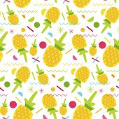 Vector Summer Fruits Pattern In Cartoon Style. Memphis Elements And Berries. Sweet Backdrop. Sweet P poster