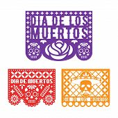 Papel Picado, Mexican Paper Decoration For Dia De Los Muertos Holiday. Day Of The Dead. Vector Templ poster