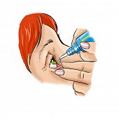 woman applying eyedroppers close up