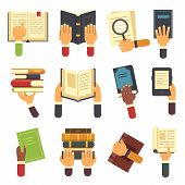 Hands With Books. Holding Book In Hand, Reading Ebook And Reader Learning Open Textbook Icon. Readin poster