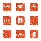 European Monetary Bank Icons Set. Grunge Set Of 9 European Monetary Bank Icons For Web Isolated On W poster