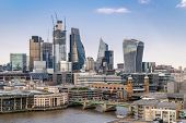 London downtown cityscape skylines building with River Thames in London UK poster