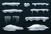 Snow Caps And Icicles. Snowball And Snowdrift Vector Winter Decorations Isolated. Frost Ice And Snow poster