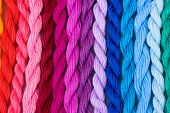 foto of cornrow  - sewing threads for embroidery closeup - JPG