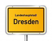 City limit sign DRESDEN against white background - federal state of Saxony / Sachsen - vector illust