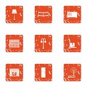 Home Library Icons Set. Grunge Set Of 9 Home Library Icons For Web Isolated On White Background poster