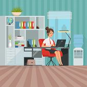 Workspace Of Woman Manager. Business Lady At Work. Secretary Sitting, Worker Businesswoman In Office poster