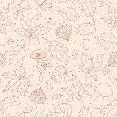Vector Autumn Seamless Pattern With Oak, Poplar, Beech, Maple, Aspen And Horse Chestnut Leaves, Mush poster