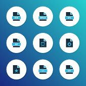 Types Icons Colored Set With File Gif, File Presentation, Open Type And Other Mp4 Elements. Isolated poster