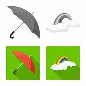 Vector Design Of Weather And Weather Icon. Collection Of Weather And Application Stock Vector Illust poster