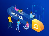 Isometric Search Bar Modern Concept. Search Engine Optimization And Web Analytics Elements. Vector I poster