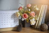 Desktop Calendar Page 2019 Place On A Wooden Office Desk.calender And Notebook For Planer Timetable, poster