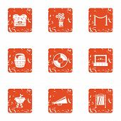 Film Production Icons Set. Grunge Set Of 9 Film Production Icons For Web Isolated On White Backgroun poster