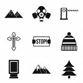 Winter Adventure Icons Set. Simple Set Of 9 Winter Adventure Icons For Web Isolated On White Backgro poster