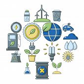 Ecology Icons Set. Cartoon Illustration Of 16 Ecology Icons For Web poster