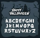 Hand Drawn Script Font For Halloween And Spooky Subjects. Unique Creepy Font In Vector Format poster