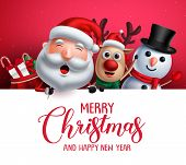 Merry Christmas Greeting Template  With Santa Claus, Snowman And Reindeer Vector Characters Singing  poster