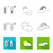 Vector Design Of Weather And Weather Sign. Set Of Weather And Application Stock Symbol For Web. poster
