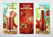 Tomato Juice And Ketchup Ad. Drinking Glass With Juice And Bottle With Ketchup On Background Of Whol poster
