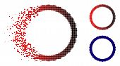 Certificate Rosette Circular Frame Icon In Dispersed, Pixelated Halftone And Undamaged Solid Variant poster