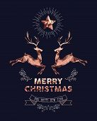 Merry Christmas Happy New Year Elegant Label Design Illustration In Copper Low Poly Style With Reind poster