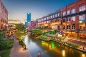 Oklahoma City, Oklahoma, USA cityscape in Bricktown at dusk. poster