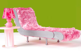 picture of spoiled brat  - Fuzzy Lounge Chair and Pink Lamp in Green Room - JPG