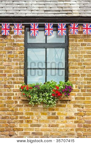 Window With Union Jack Bunting Above