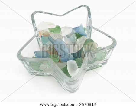 Glass Stones In Star Dish