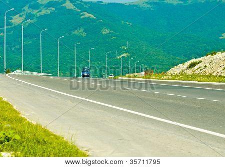 Mountain landscape - empty highway, Motorway