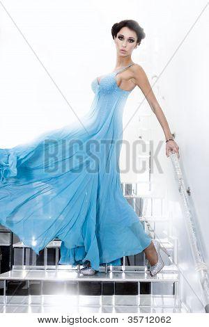 Luxury Woman In Blue Dress