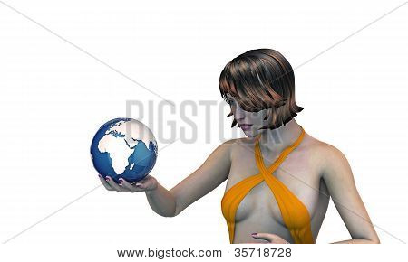 Girl Holding The Earth In Her Hand