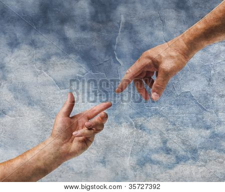 Two Hands Reaching Old Painting Style