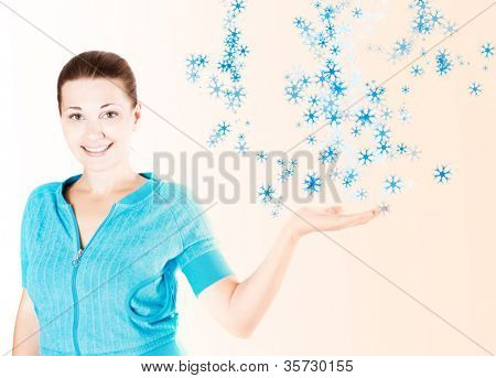 Portrait of young happy smiling woman gesturing,