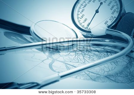medical report and sphygmomanometer