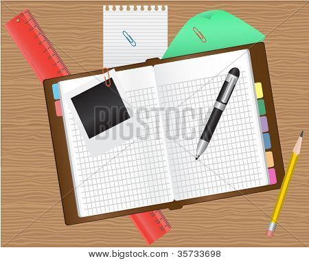 diary and office supplies