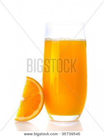 Orange with orange juice on white isolated