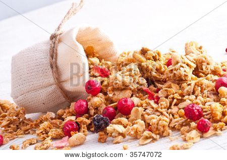 muesli and berry in small sack